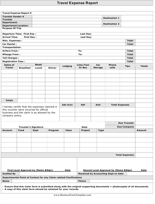 """""""Travel Expense Report Template"""" Download Pdf"""