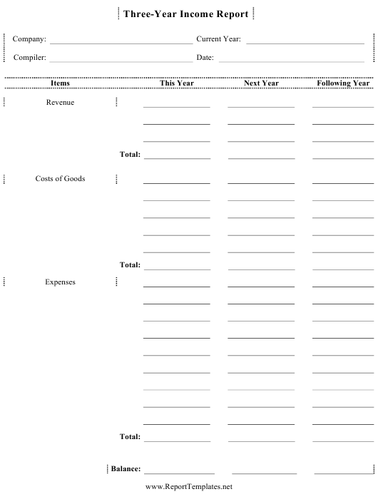 """""""Three-Year Income Report Template"""" Download Pdf"""
