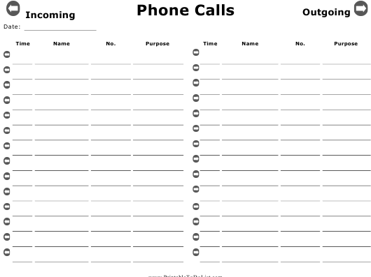 """""""Incoming and Outgoing Phone Calls Report Template"""" Download Pdf"""