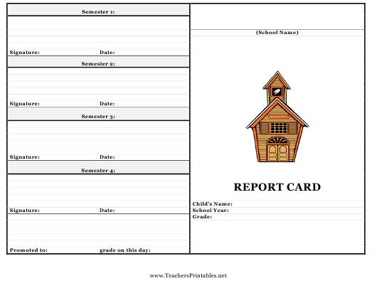 """Grading School Report Card Template"" Download Pdf"