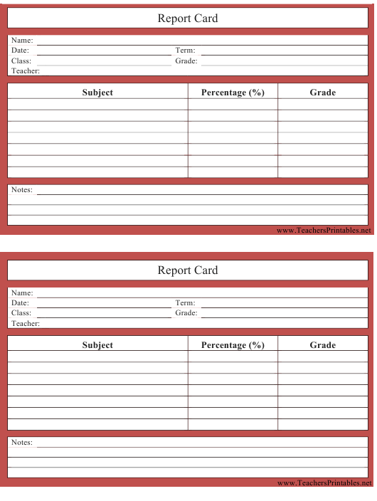 """""""Red School Report Card Template"""" Download Pdf"""