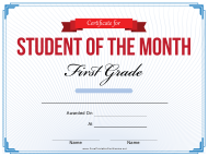 """First Grade Student of the Month Certificate Template"""