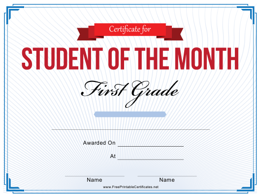 """First Grade Student of the Month Certificate Template"" Download Pdf"