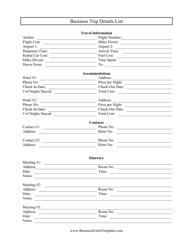 Business Trip Details List Template