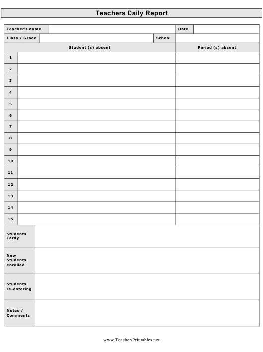 """""""Teachers Daily Report Template"""" Download Pdf"""