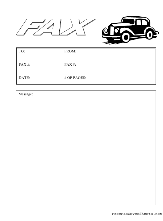 """Fax Cover Sheet With Black Cab"" Download Pdf"