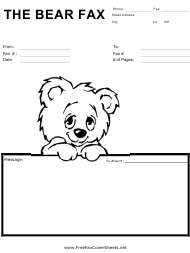 """Fax Cover Sheet With Cute Bear"""