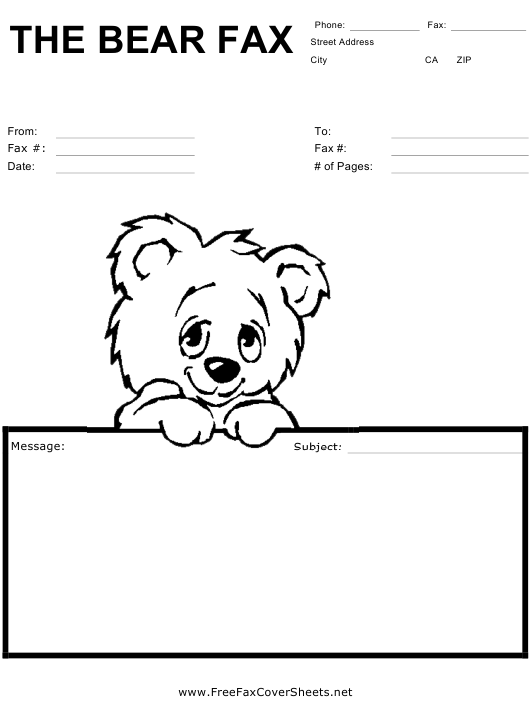 """Fax Cover Sheet With Cute Bear"" Download Pdf"