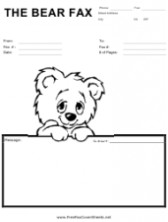 Fax Cover Sheet With Cute Bear