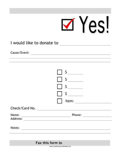 """Donation Fax Form"" Download Pdf"