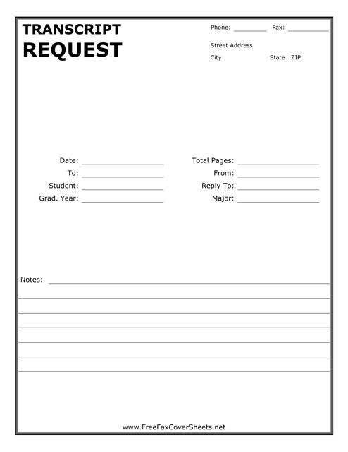 """Transcript Request Form"" Download Pdf"