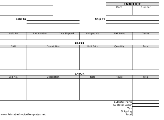 """Blank Invoice Template"" Download Pdf"