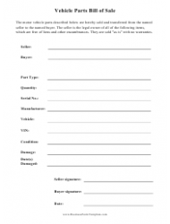 Vehicle Parts Bill of Sale Template