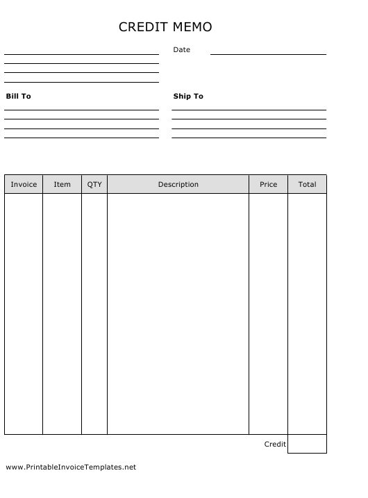 """Blank Portrait Credit Memo Spreadsheet Template"" Download Pdf"