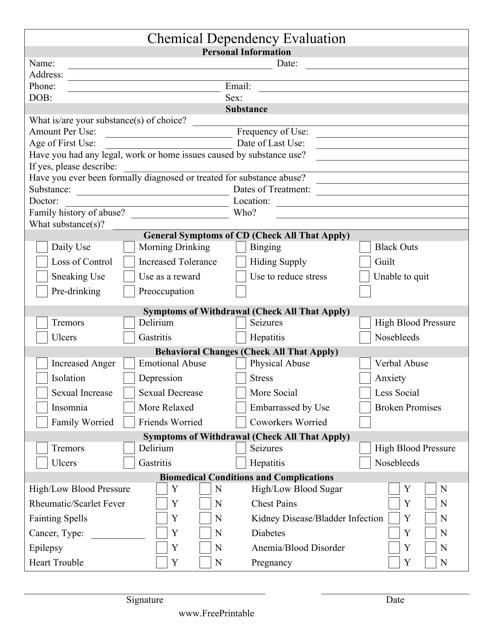 """Chemical Dependency Evaluation Form"" Download Pdf"