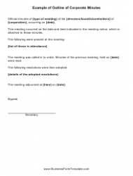 Sample Corporate Minutes Template