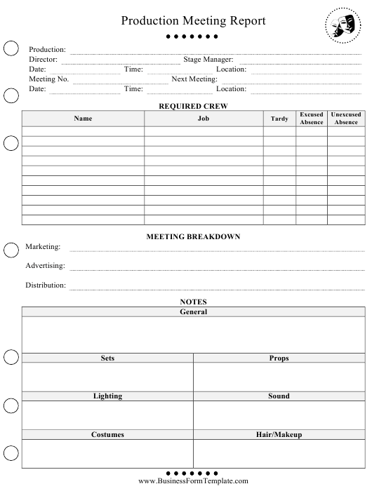production meeting report template download printable pdf