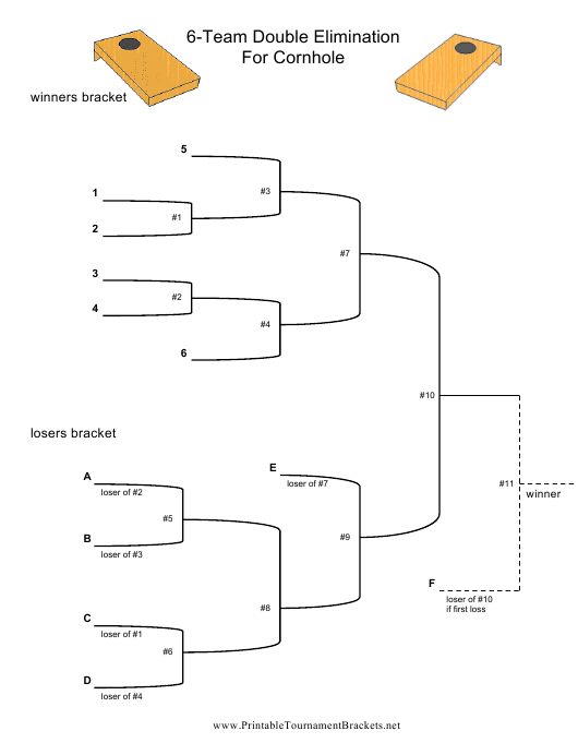 """6-team Double Elimination Tournament Bracket Template"" Download Pdf"