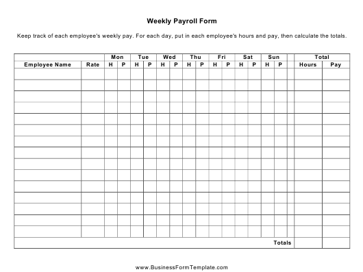 """""""Weekly Payroll Spreadsheet Template"""" Download Pdf"""