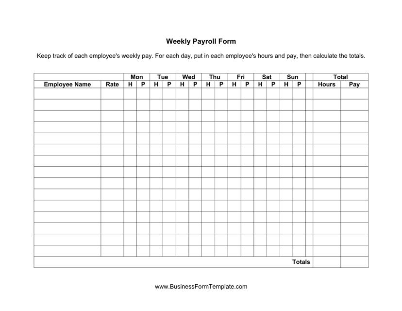 weekly payroll spreadsheet template download printable pdf