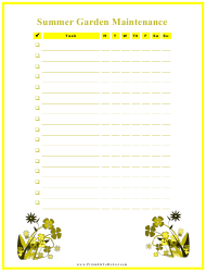 Summer Garden Maintenance Log Template