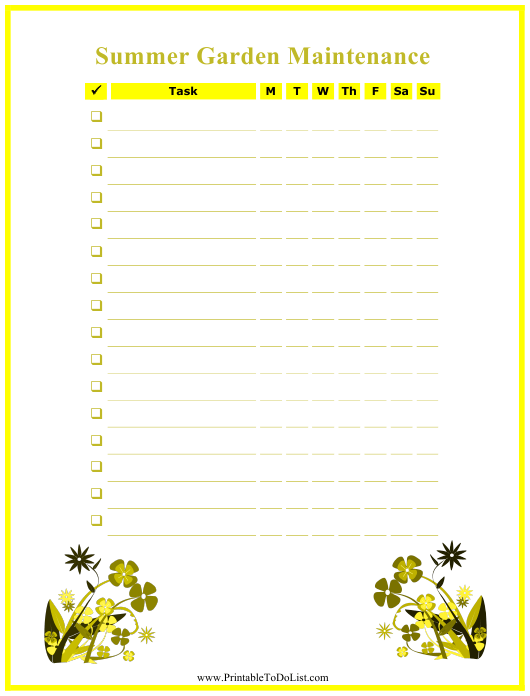 """Summer Garden Maintenance Log Template"" Download Pdf"
