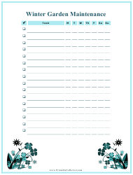 Winter Garden Maintenance Log Template