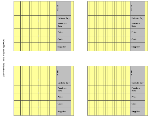 """""""Yellow Inventory Management Card Templates"""" Download Pdf"""