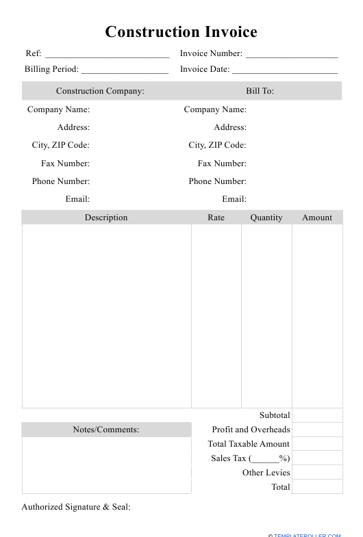 """Construction Invoice Template"" Download Pdf"