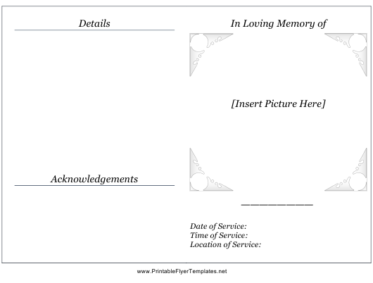 """Memorial Service Pamphlet Template"" Download Pdf"