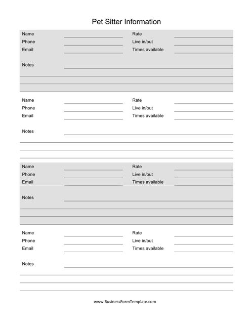"""""""Pet Sitter Information Form"""" Download Pdf"""