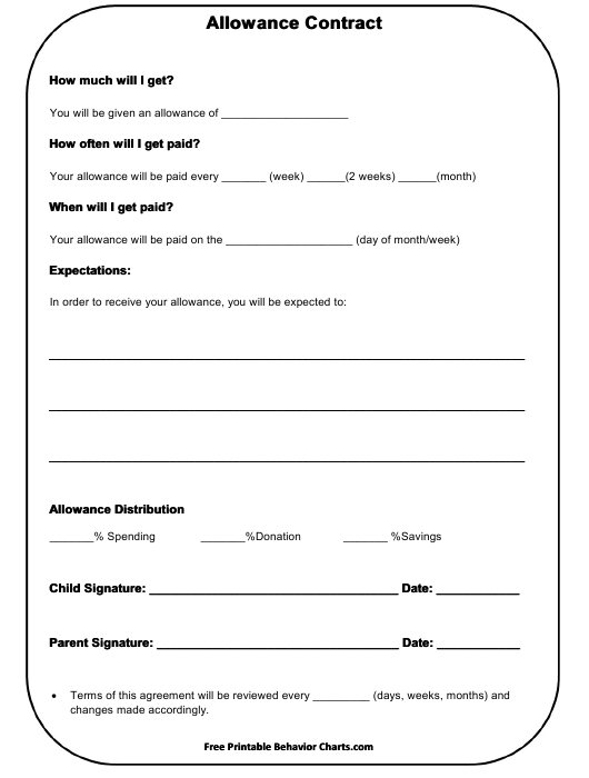 """Allowance Contract Template for Kids"" Download Pdf"
