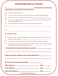 """School Attendance Contract Template"""