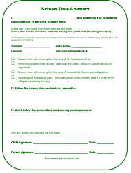 """Screen Time Parents Kids Contract Template"""