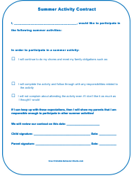 """Summer Activity Contract Template"""