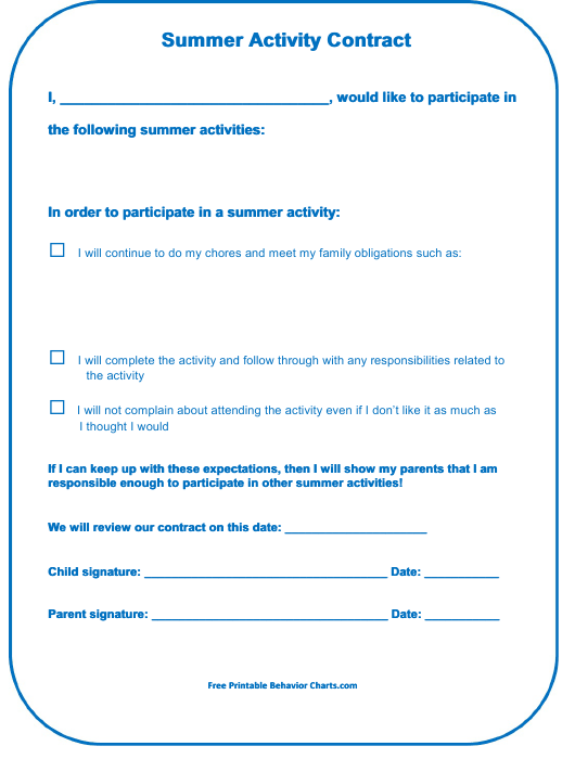 """Summer Activity Contract Template"" Download Pdf"