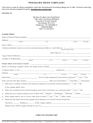Form LLC-15 Prevailing Wage Complaint - Pennsylvania