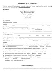Form LLC-15 Prevailing Wage Complaint - Pennsylvania