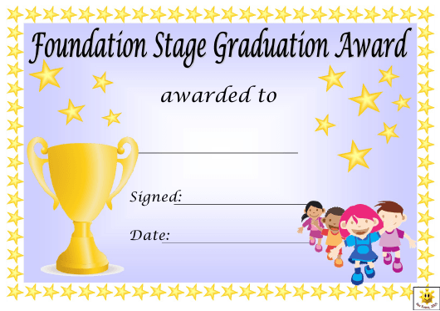 """Foundation Stage Graduation Award Certificate Template"" Download Pdf"