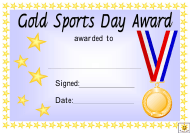 """""""Sports Day Award Certificate Template - Gold, Silver and Bronze"""""""