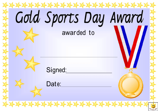 """""""Sports Day Award Certificate Template - Gold, Silver and Bronze"""" Download Pdf"""
