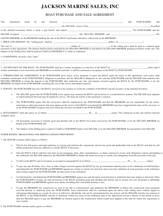 Boat Purchase and Sale Agreement Template - Jackson Marine Sales, Inc Download Pdf
