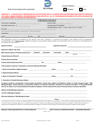 "Form CCS-FRM-274 ""Multi-Tenant Registration Application and Renewal"" - City of Dallas, Texas"