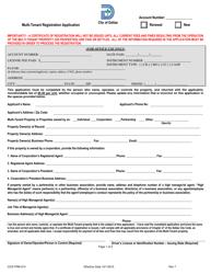 Form CCS-FRM-274 Multi-Tenant Registration Application and Renewal - City of Dallas, Texas