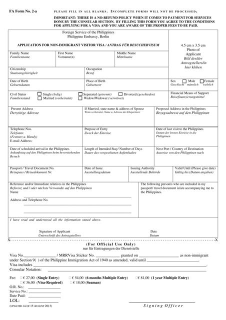 Free Visa Application Forms Fill Pdf Online Print Templateroller