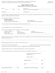"""""""Prior Approval Form for Outside Activities (Category I) - University of California"""""""