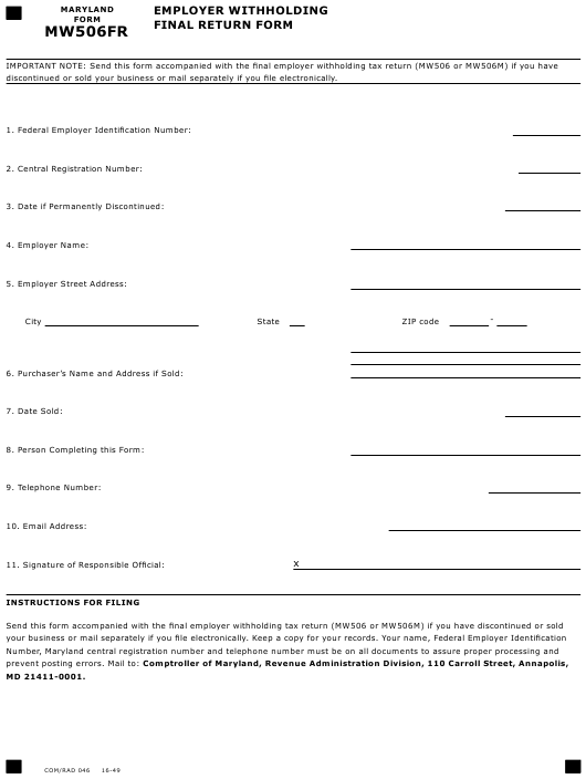 Form MW506FR  Printable Pdf