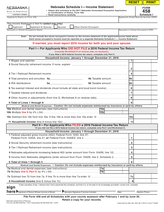 Form 458 Download Fillable Pdf Schedule I Income Statement