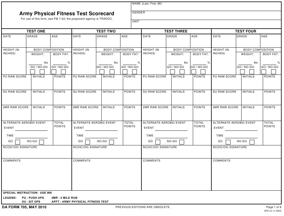 Da Form 705 Download Fillable Pdf Or Fill Online Army Physical Fitness Test Scorecard Templateroller
