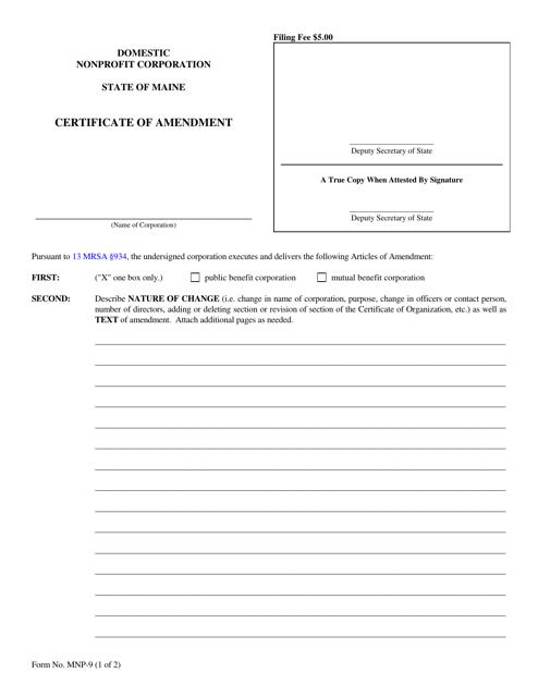 Form MNP-9  Printable Pdf